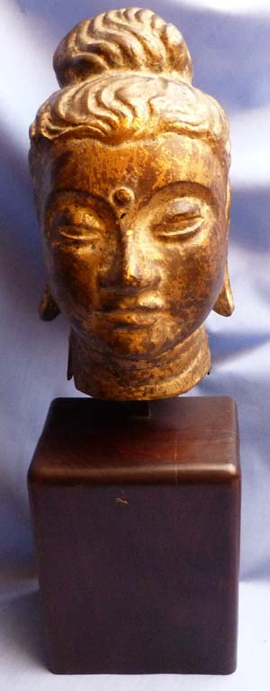 C.1800 South-East Asian Gilded Bronze Head