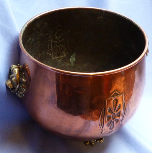 C.1900 Art Nouveau Decorated Copper Planter Pot