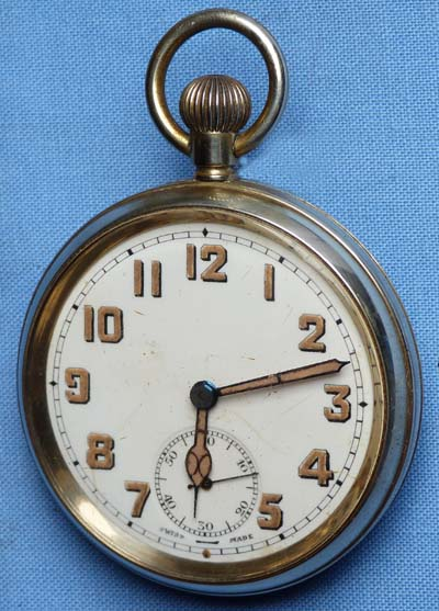 Ww1 British Army Officer S Brass Cased Military Pocket Watch