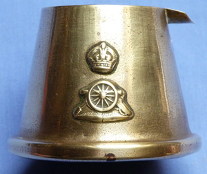 British WW1 Trench Art Regimental Royal Artillery Brass Ash Tray
