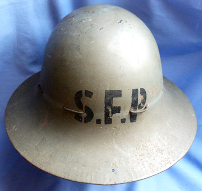 British WW2 Home Defence Special Fire Patrol Helmet