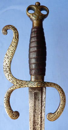 C.1690 Brass-Hilted Military Hanger Sword