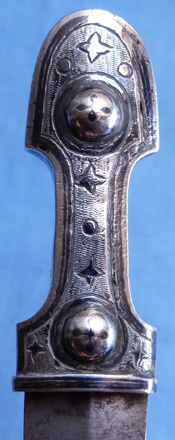 19th Century Russian Hallmarked Dated 1897 Silver Niello Kindjal Dagger