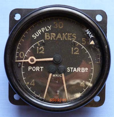 An original British WW2 Aircraft Brakes Gauge #2